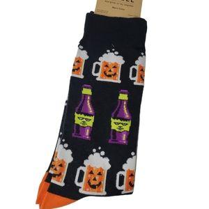 Black Halloween Witches Brew Crew Socks Sz 10-13